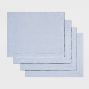 4pk Threshold Solid Light Blue Cotton Placemats